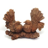 Rusted Cast Iron Fantail Birds Garden Ornament