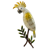 Metal Cockatoo on Branch Garden Decoration