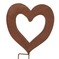 Rusted Heart Sculpture Garden Stake Small