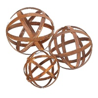 Australian Rusted Sculptural Ball Set of 3 Garden Art