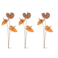 Set 3 Metal Rust Anthurium Garden Art Stakes