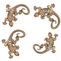 Set 4 Cast Iron Gecko Terracotta Wall Art
