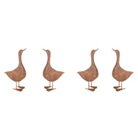 Set 4 Rusted Ducks Metal Garden Decoration