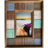 Coastal Green Blue Natural Wood Picture Frame