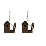 Rusted Metal Hanging Bird House Feeder