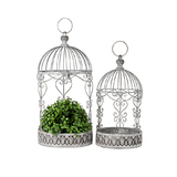 Antique Grey Metal Baroque Ornamental Hanging Birdcages Set 2