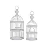 Large White Metal Ornamental Hanging Birdcages Set 2