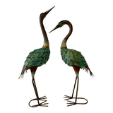 Metal Crane Couple Garden Ornaments