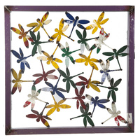EEIEEIO Dragonflies Metal Wall Panel Garden Art