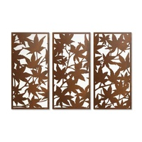 Maple Leaf Screen Triptych Outdoor Metal Wall Art