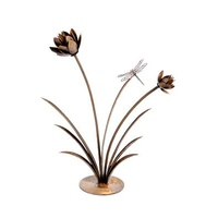 Flower Reed with Dragonfly Outdoor Garden Sculpture