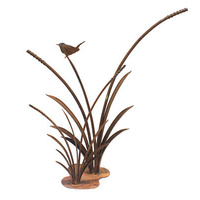 Wren on Double Reeds Outdoor Metal Garden Art