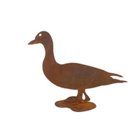 Duck Waddle Stand Rusted Metal Garden Decor