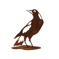 Metal Rusted Magpie Head Back Garden Ornament