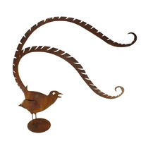 Large Lyrebird Stand Rusted Garden Ornament