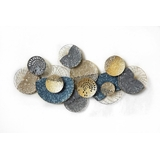Circles Blue Gold Abstract Metal Wall Art
