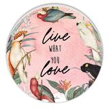 Parrots Pink Round Timber Wall Art