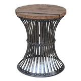 Inverted Iron and Wooden Stool