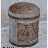 Vintage Bicycle Canvas Leather Ottoman