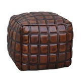 Checkered Leather Ottoman