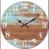 Small Blue Brown Wood Wall Clock