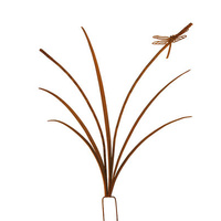 Dragonfly Reed Metal Stake Outdoor Garden Sculpture