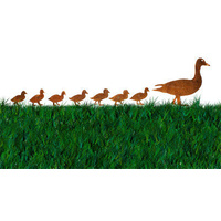 Duck with Seven Ducklings Metal Garden Stakes