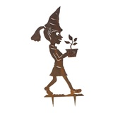 Elf Girl Flowers Metal Garden Stake
