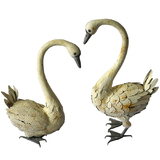 Rustic White Metal Swans Garden Ornament Set 2