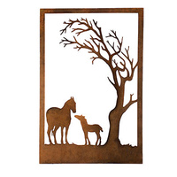 Horses under Tree Metal Garden Wall Panel