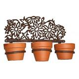 Rusted Cast Iron Daisy Pot Plant Wall Hanging