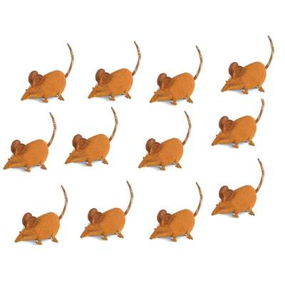 Farmers Mice Rusted Metal Garden Ornament Set 12 Small