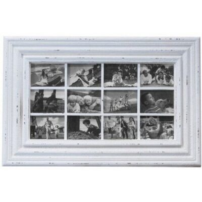 Large White Wood 12 Multi Hanging Picture Frame