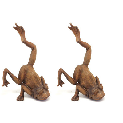 Rusted Cast Iron Balancing Frog Garden Ornament