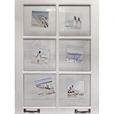 White Wooden 6 Multi Door Picture Frame