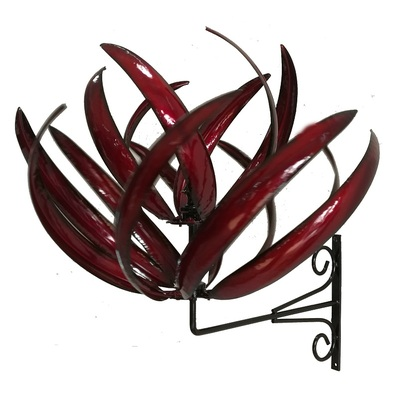 Wall Mount Lotus Red Metal Windmill