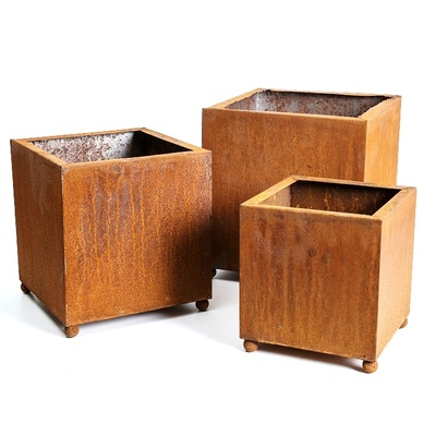 Planter Boxes Rusted Square Metal Set 3