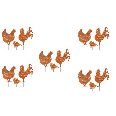 Set 16 Rooster Family Garden Art Stakes