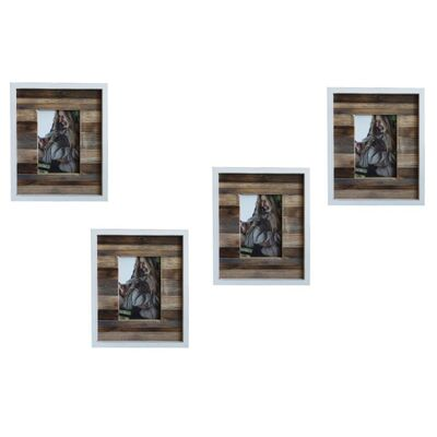 Single White Natural Wooden Photo Frame Set 4