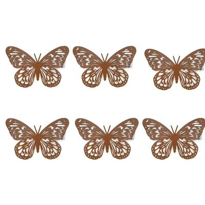 Butterfly Silhouette Metal Wall Art Set 6