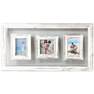 White Wood Glass 3 Multi Hanging Picture Frame