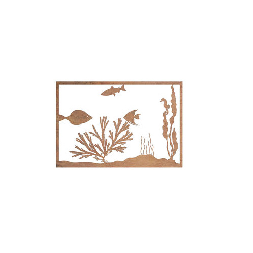 Fish Seaweed Steel Outdoor Metal Wall Art Panel