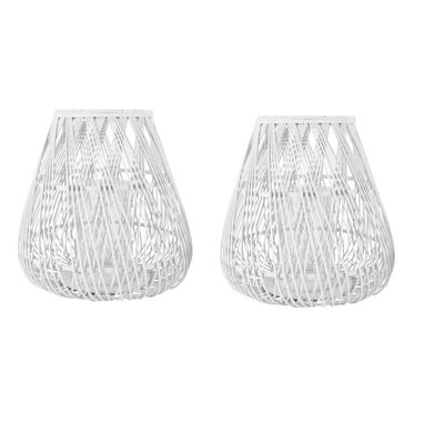 White Bamboo Garden Lanterns Set 2